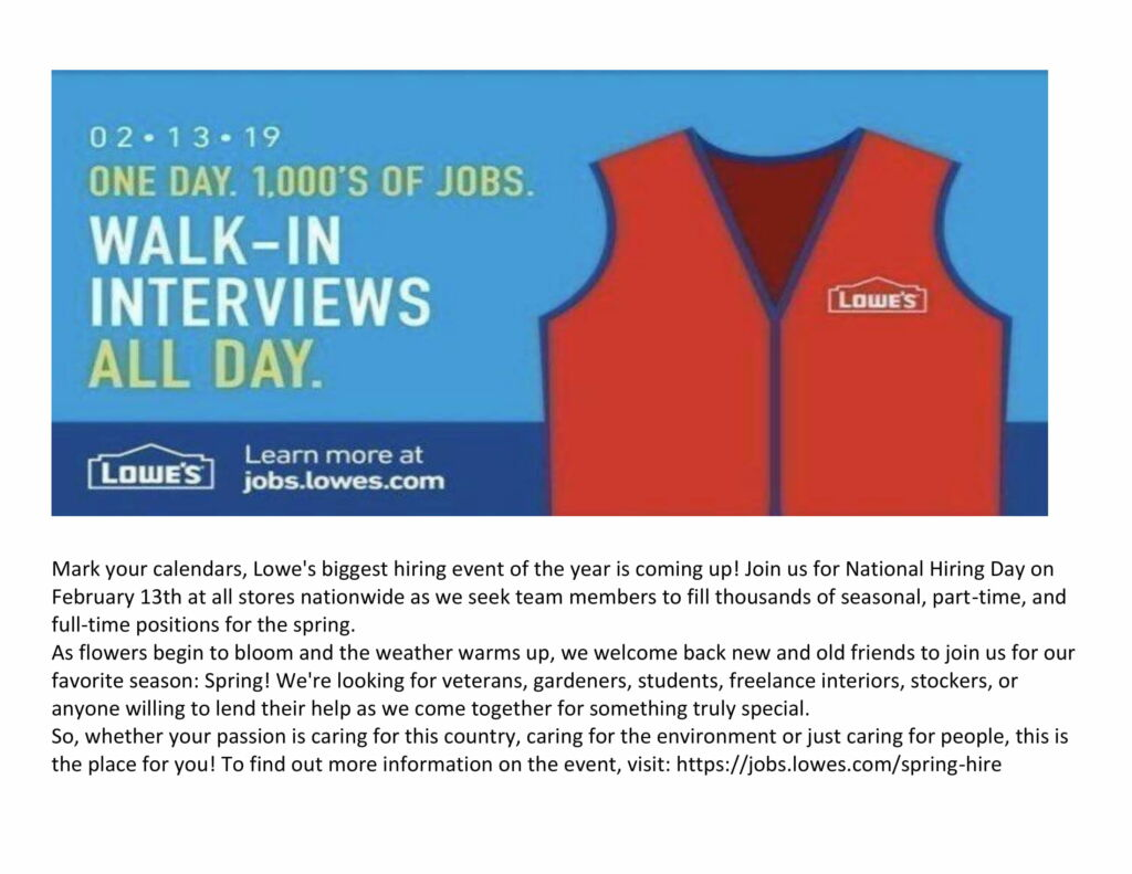 Lowe's National Day of Hiring: February 13, 2019 | Working