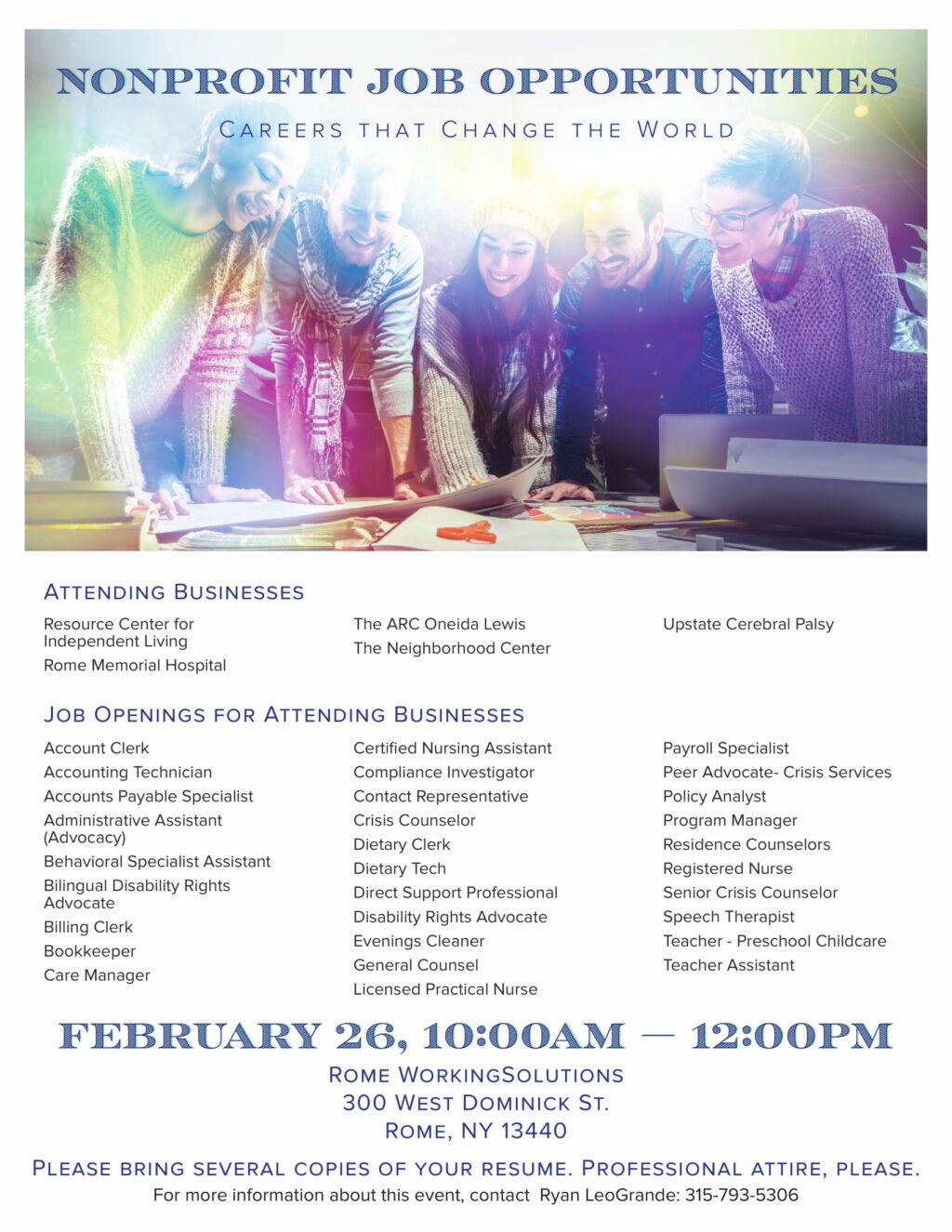 Non Profit Job Fair   Working Solutions