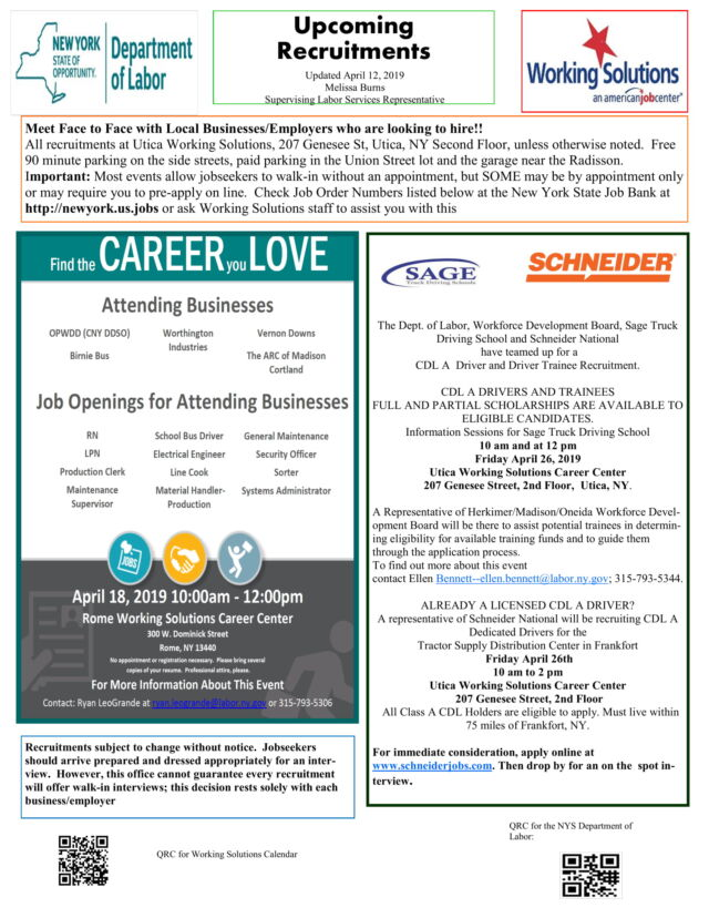 Recruitment Flyer for April 15 – April 19, 2019 | Working