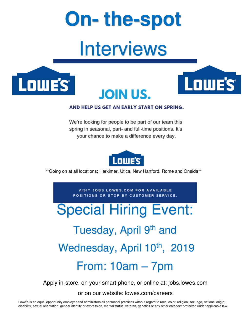 Lowe's Hiring Event April 9th and April 10th | Working Solutions