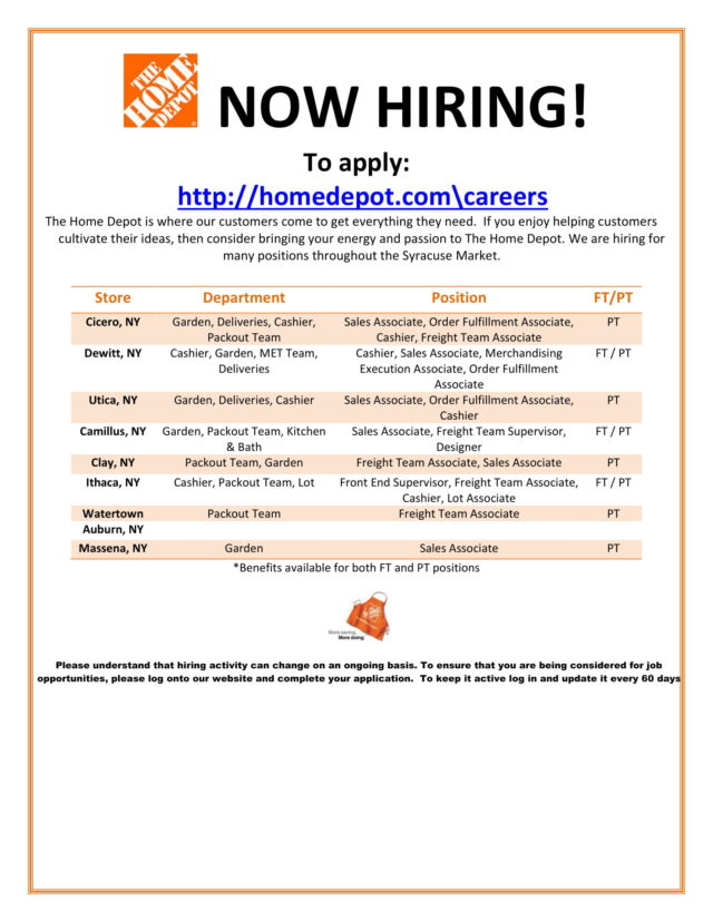 Home Depot Is Hiring In Utica Ny Working Solutions